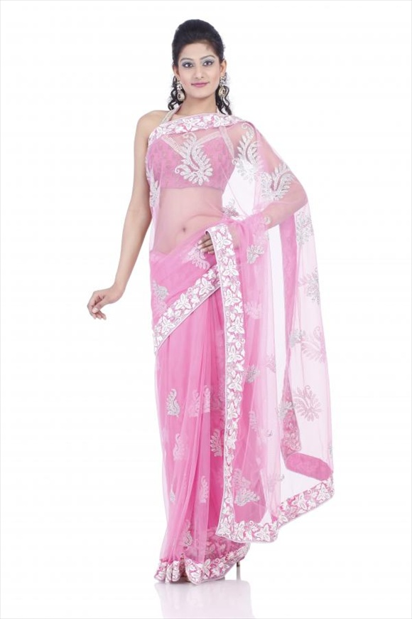 Geranium Pink Net Saree