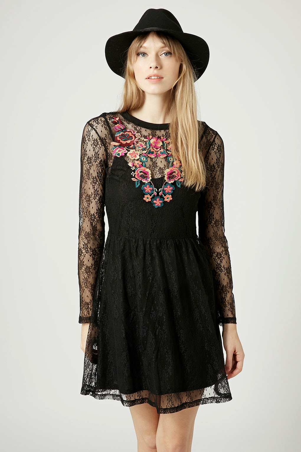 topshop lace dress embroidery