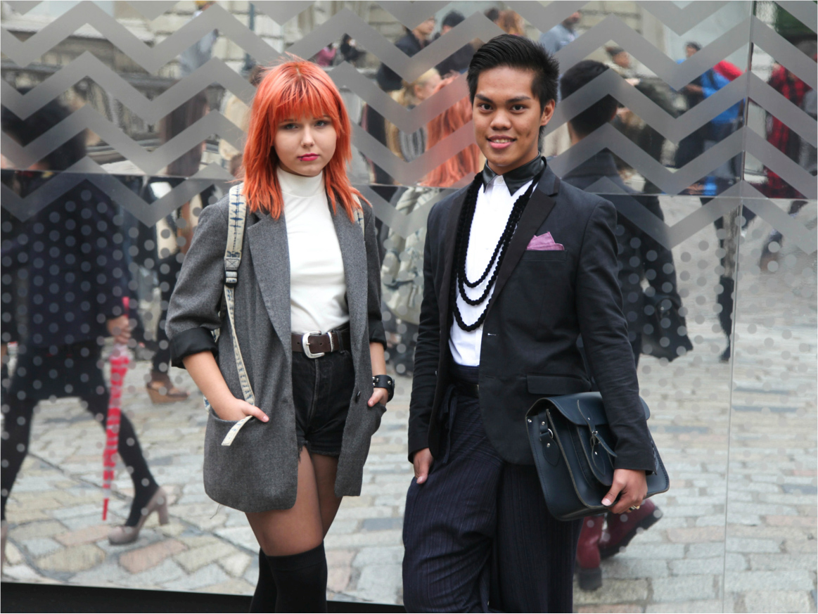 London Fashion Week street style orange hair suspender tights dandy mens style