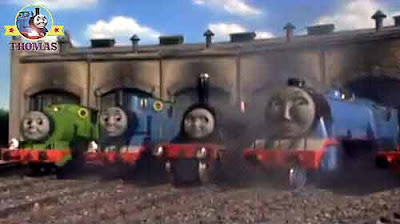 Island of Sodor wooden building Toby the brown tram Percy the small train Thomas and friends engines