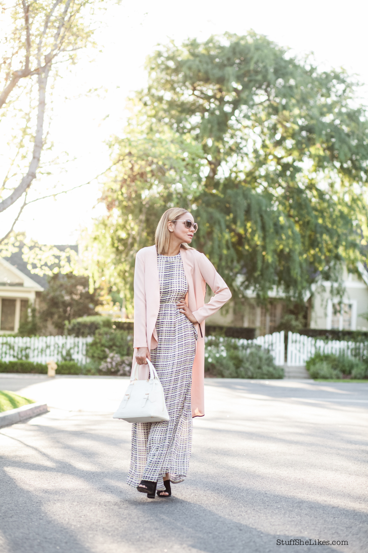 maxi dress, topshop mules, blush blazer, long blazer, Top Blogger, best blogger, top 10 fashion bloggers, Los Angeles fashion blogger, Stuff She Likes, Taye Hansberry, Fashion expert