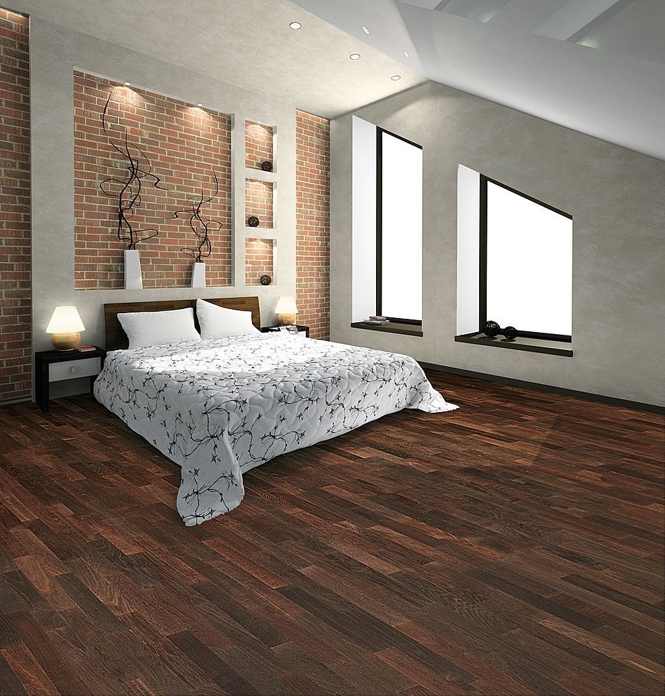 Modern laminate flooring interior decorating idea for Two floor bedroom