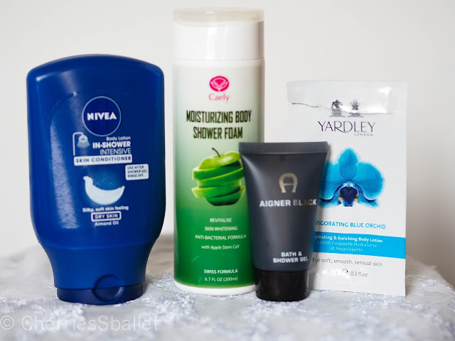 Nivea In-Shower Intensive Skin Conditioner, Caely Moisturising Body Shower Foam, Aigner Black Bath & Shower Gel,  Yardley London Hydrating & Enriching Body Lotion in Invigorating  Blue Orchid