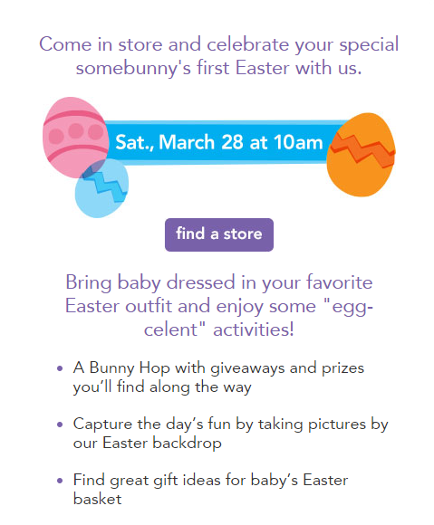 Mail4rosey babies r us making babys first easter awesome with babies r us knows how to celebrate and on saturday march 28th you can bring your little one in to any one of their participating stores to enjoy some fun negle Images
