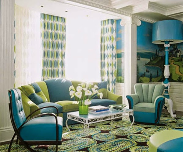 Salas en verde y azul salas con estilo for Brown green and cream living room ideas