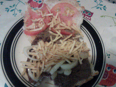 Cuban Steak Sandwich,potatoe sticks,onions,tomatoes