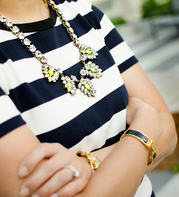 nautical stripe dress, J.Crew rugby stripe dress, summer fashion, gold accessories, statement necklace