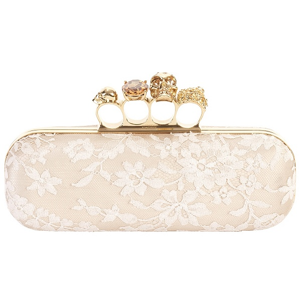 knuckle box clutch. Flesh/Ivory Lace Knuckle Box