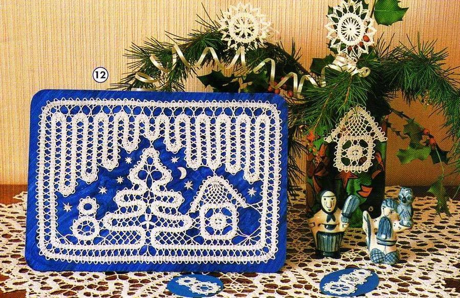 Patrón para realizar Bonito cuadro con diseño de navidad al crochet