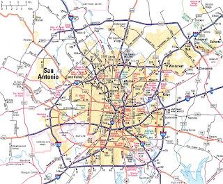 Road Map  of San Antonio