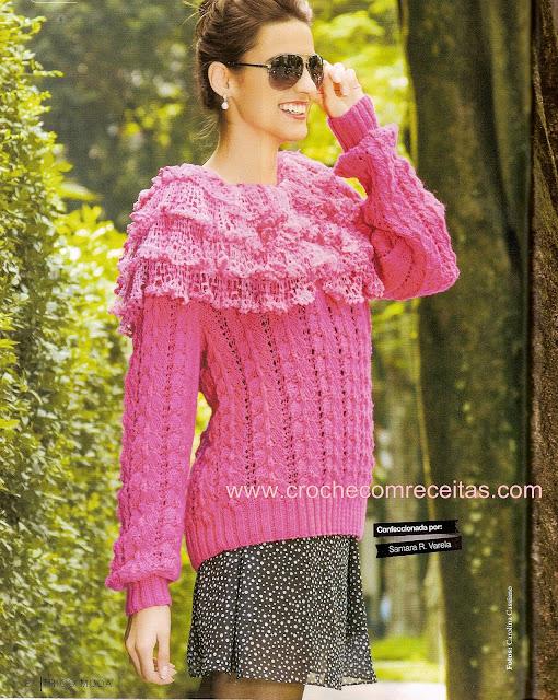 croche com receita e gráficos com blusa de tricô rosa lirio sensual