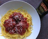 Eggplant Meatballs over Spaghetti