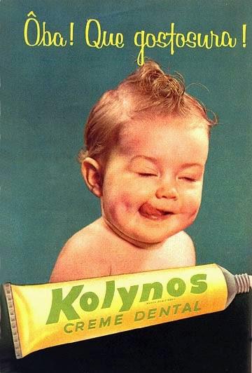 Propaganda do Creme Dental Kolynos dos anos 60. Um bebê estampava a campanha notória.