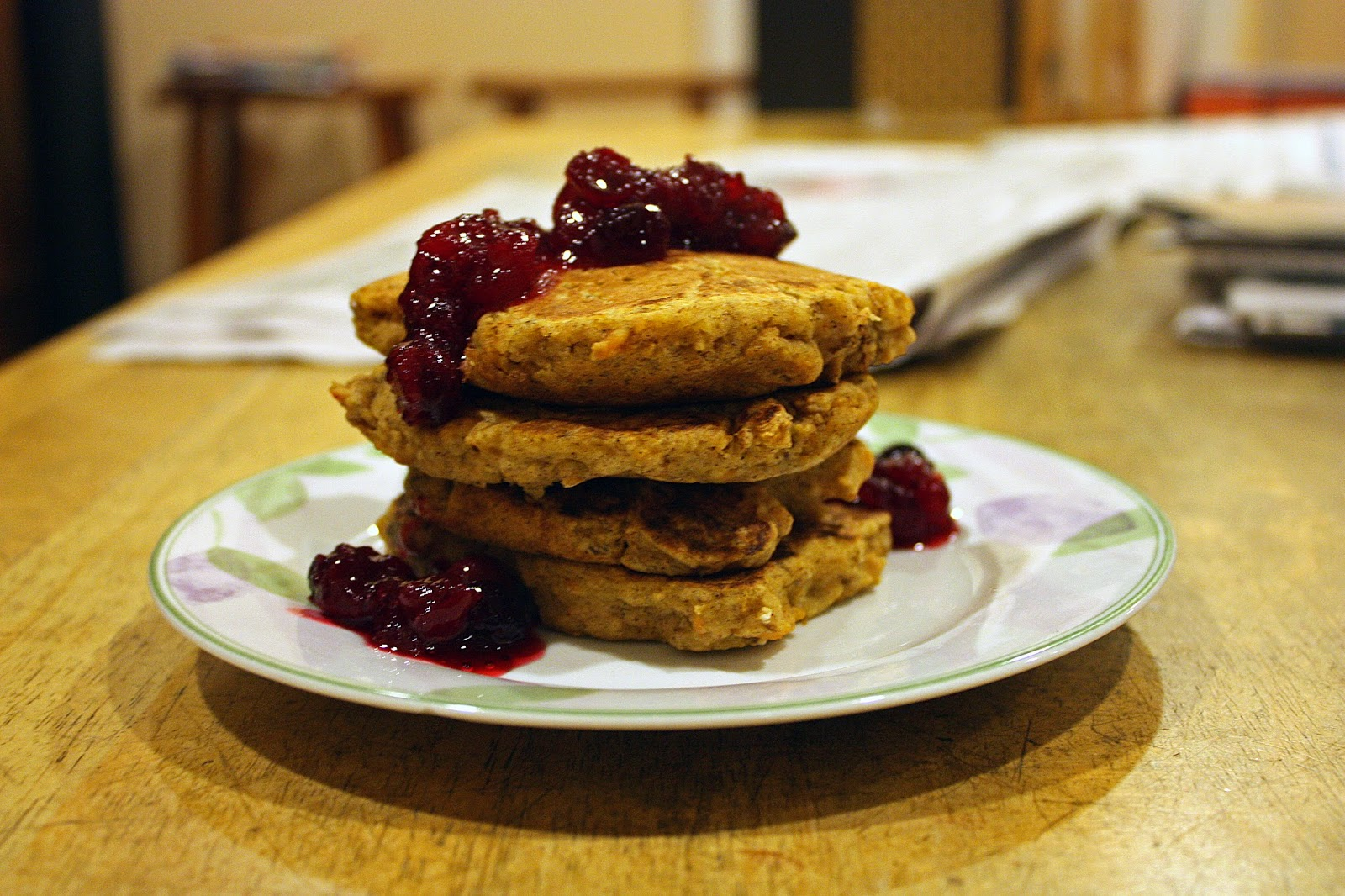 vegan sweet potato pancakes with cranberry sauce