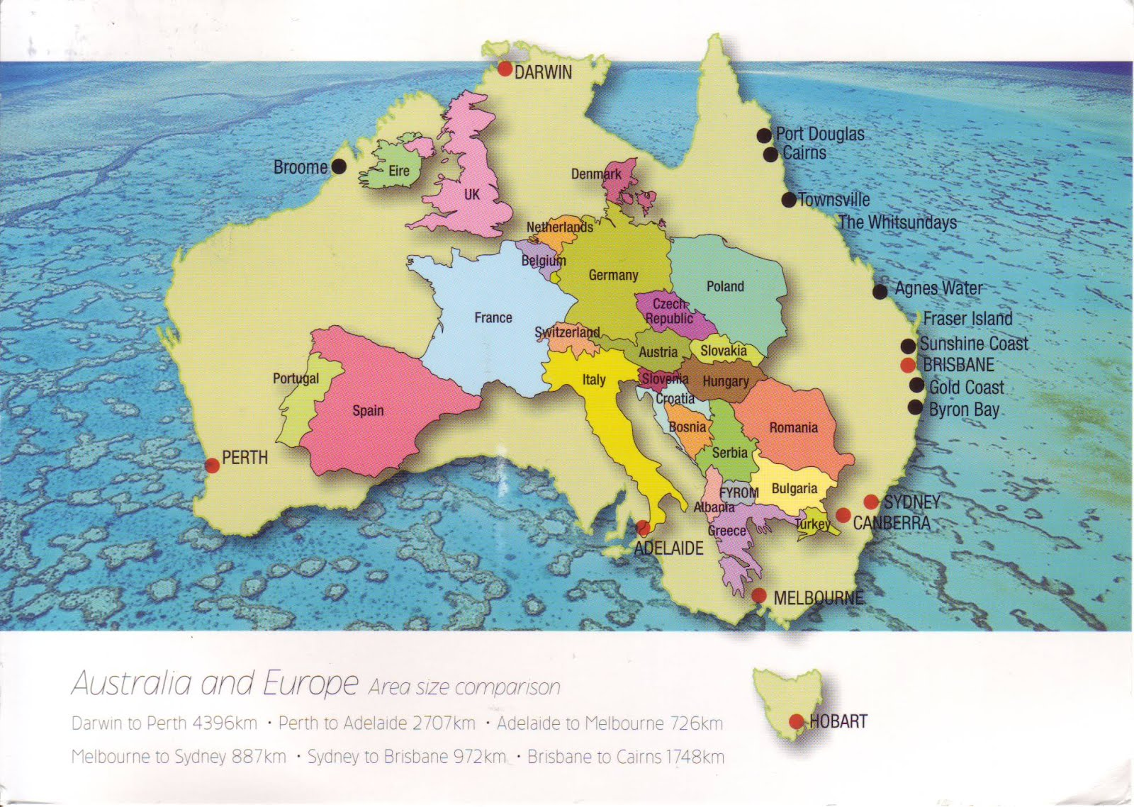 The world in postcards sabines blog australia map beautiful new mapcard with interesting facts of australia sent by rod eime in a private swap somehow australia always looks small on a world map but seeing gumiabroncs Gallery