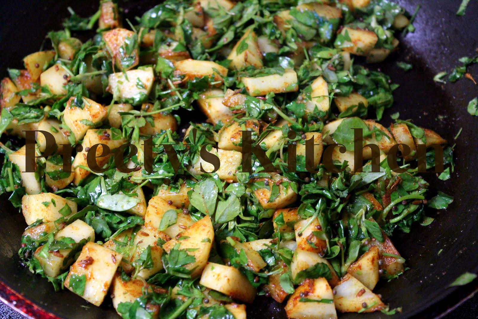 Preety's Kitchen: Aloo Methi Sabzi/ Potato With Fenugreek Leaves