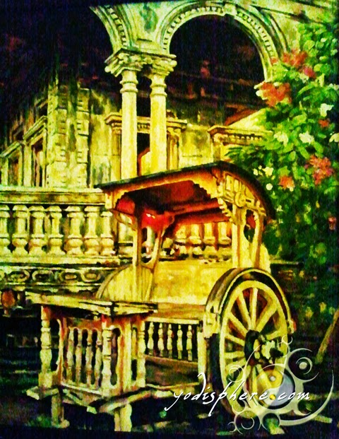 hover_share Painting of The Ruins depicting a Kalesa and the Veranda of The Ruins
