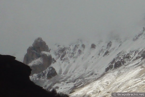 Snow at Ljuboten mountain peak at Sar Planina (Shar Mountain, Macedonia). Goat's Rock (Kozja Karpa, Kozja Stena) and Big Rock (Golem Kamen) also on this November 2014 photo.