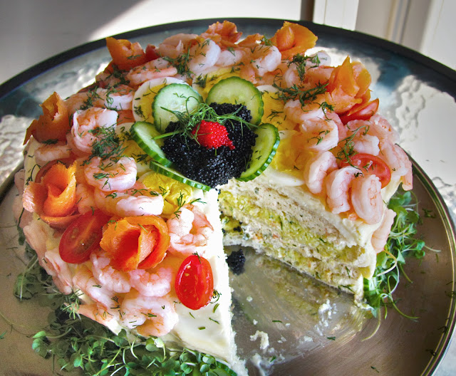 Smörgåstårta is a savoury Swedish party cake