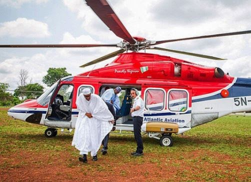 Buhari attended Oshiomole's wedding in a chopper