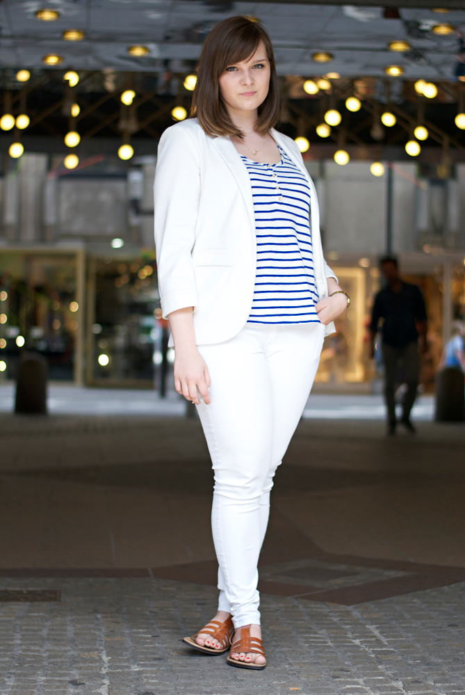 white blazer pants outfit striped top