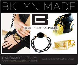 Made In Brooklyn::Bklyn Made::Necklace and Leather Bracelets By Barbara Campbell Accessories of Jewelry And Fashion Leather Handbags Ad Advertisement As Seen In Brooklyn Exposed http://brooklynexposed.com