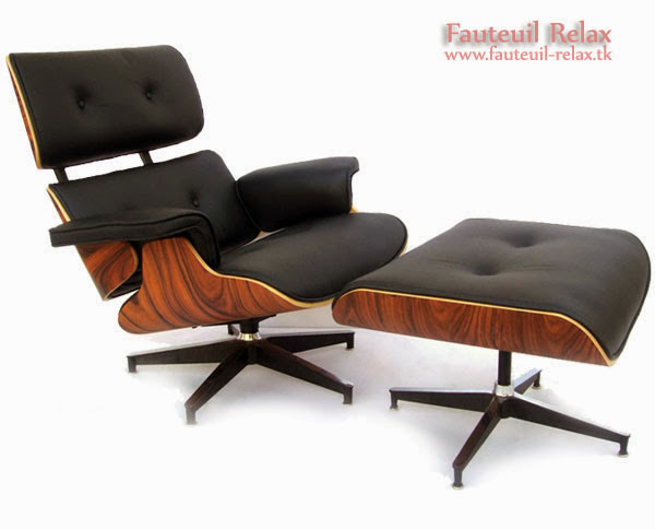 fauteuil eames lounge avec son ottoman fauteuil relax. Black Bedroom Furniture Sets. Home Design Ideas