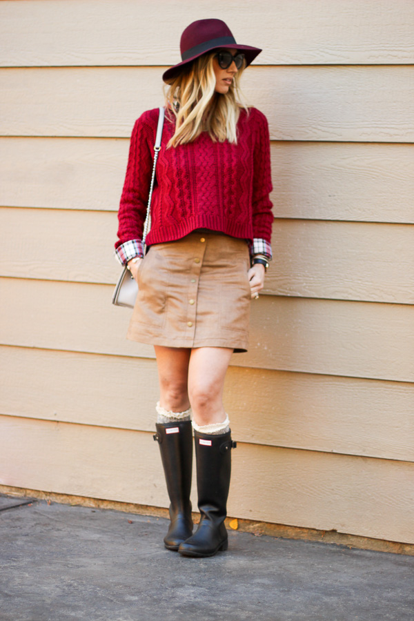 red cable knit sweater with plaid top parlor girl
