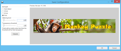 """Paint.NET PNG save dialog with """"8bit"""" level selected for Bit depth plus dithering and transparency set to zero"""