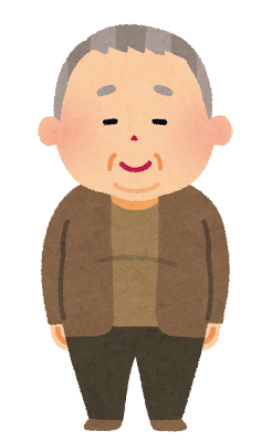 太ったおじいさんのイラスト(肥満)