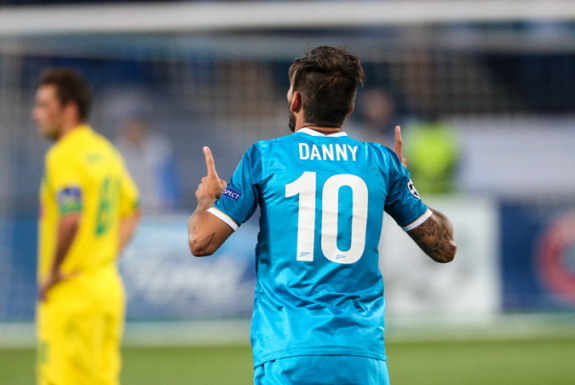 Zenit St Petersburg player Danny celebrates after scoring a goal against Paços Ferreira