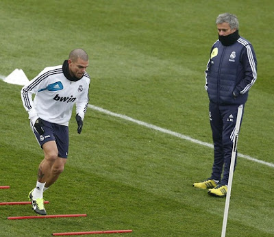 Pepe training at Real Madrid sports city with Jose Mourinho