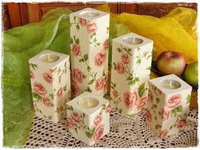 Świecznik Kwiaty Róże Angielskie Zestaw Komplet 5 sztuk Świeczników z Drewna Decoupage