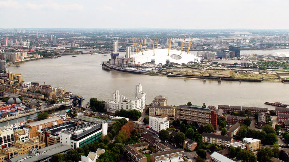 View of the Milenium Dome and surrounding area from high across the river