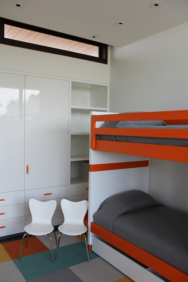 Picture of modern white and orange furniture n the romantic home