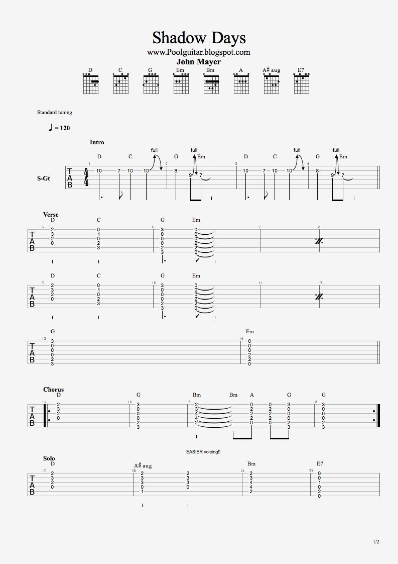 Poolguitarblog: John Mayer - Shadow Days + Chords TABS