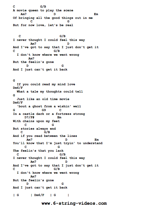 Guitar Tabs: Tabs and Song Sheet For: If You Could Read My Mind by ...