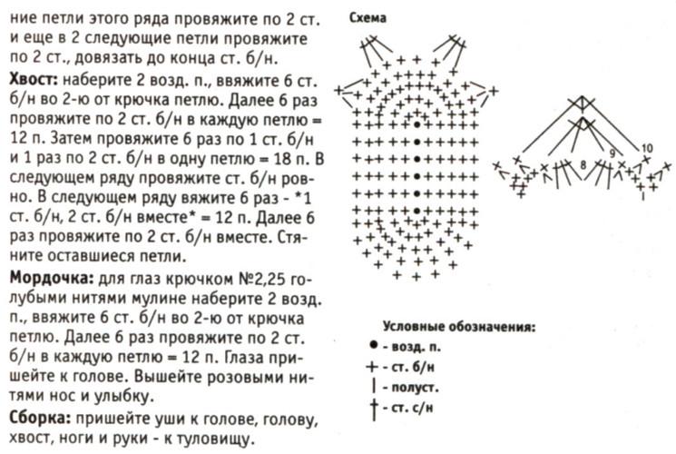 Вязание зайцев крючком схемы 49