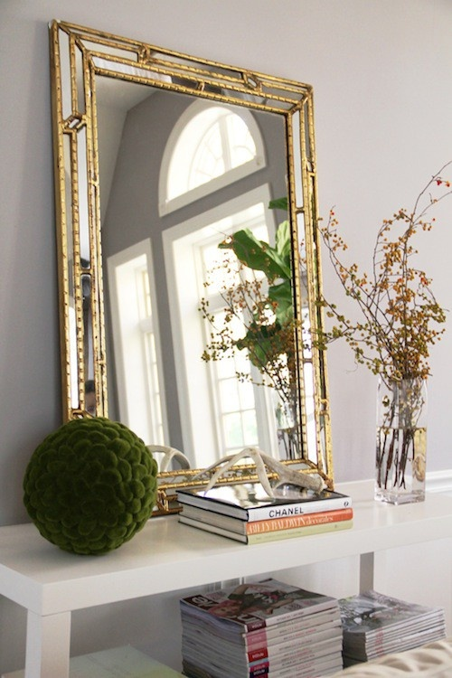 Gold Foyer Mirror : Creating an entry bungalow home staging redesign