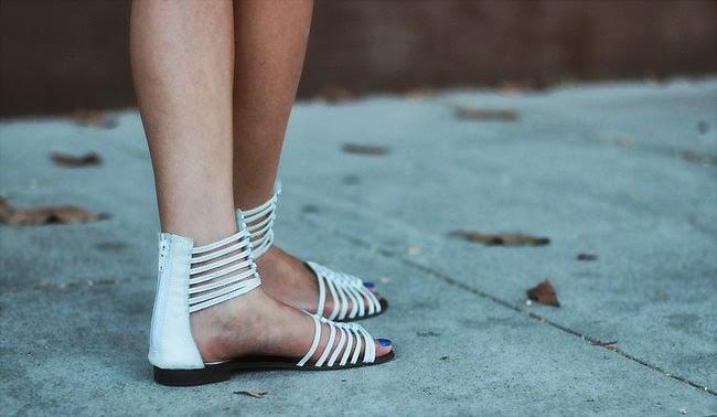 white ankle strap sandal flat gladiator
