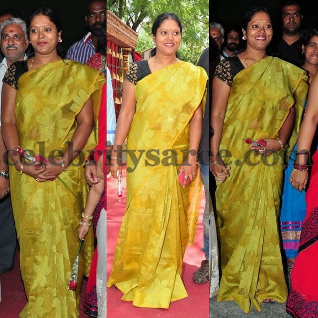 Puri Jagannadh Wife Green Uppada Sari