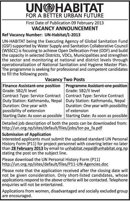 Job Vacancy Un Habitat Jobs In Nepal