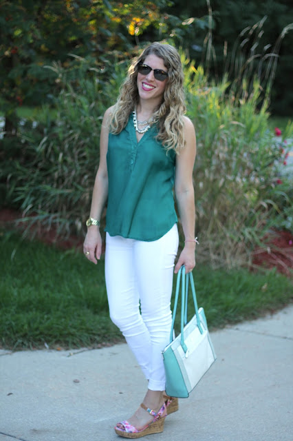 teal top, white jeans, floral wedges