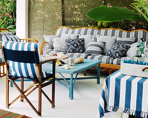 Vintage outdoor beach living room