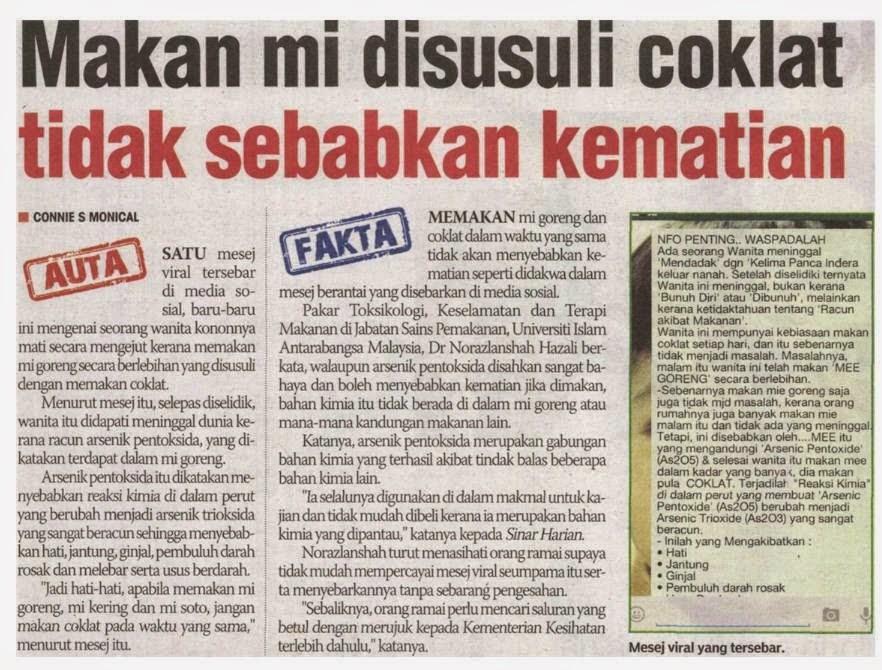makan mi goreng, coklat, membawa maut, fakta, auta, Kementerian Kesihatan Malaysia