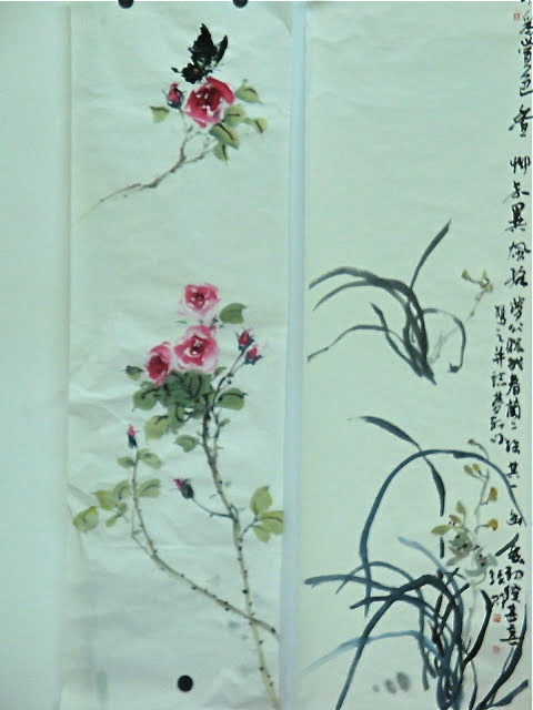 Chinese Ink Painting Roses and Orchids
