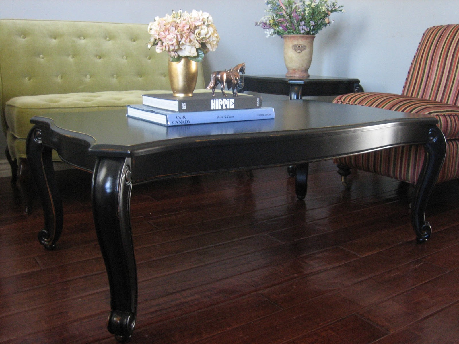 European Paint Finishes Black Coffee & End Tables
