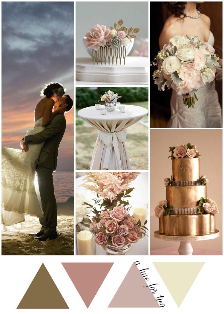 Gold and Dusty Rose Beach Wedding Colours | www.ahuefortwo.com