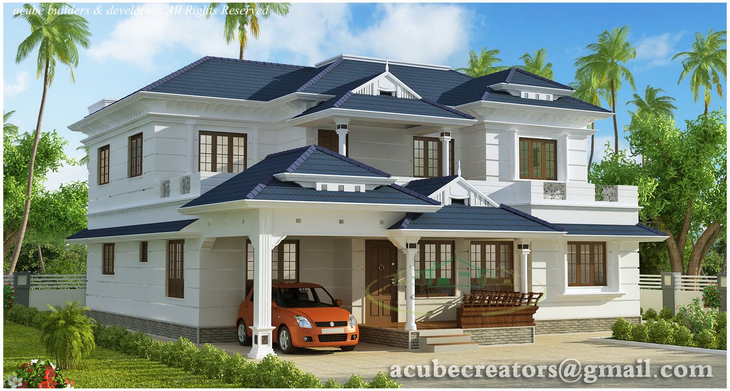 BHK Kerala style house elevation - 3074 Sq.Ft. (Plan 127)
