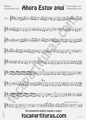 Tubescore I am Here by Shakira Sheet Music for Horn Music Score Rock Pop Music